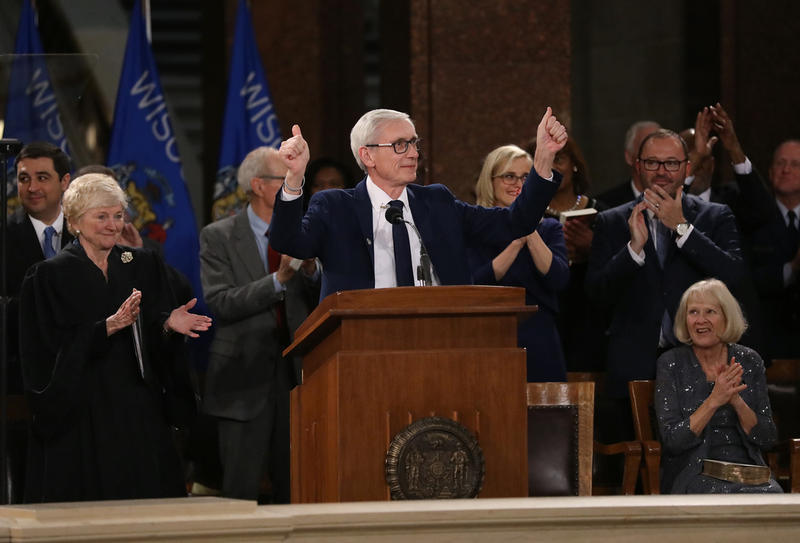 Newly-inaugurated Governor Tony Evers addresses the crowd.