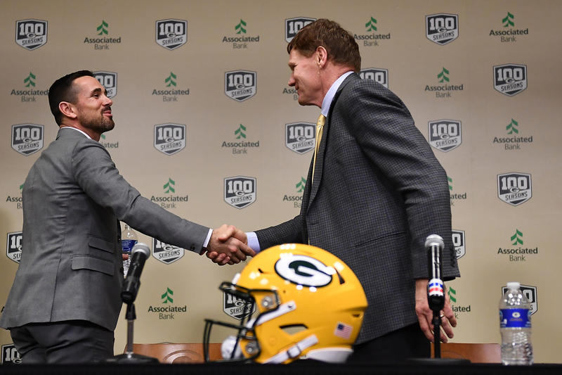 (L-R) Head coach Matt LaFleur shakes hands with President and CEO Mark Murphy of the Green Bay Packers following a press conference introducing Matt LaFleur as head coach at Lambeau Field on January 09, 2019 in Green Bay, Wisconsin.