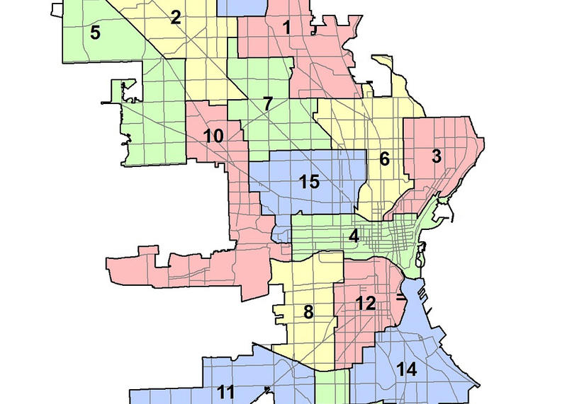 A portion of the map that shows Milwaukee's current aldermanic districts.