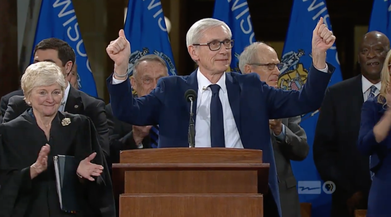 Tony Evers at the Jan. 7 inauguration ceremony in Madison, Wis.