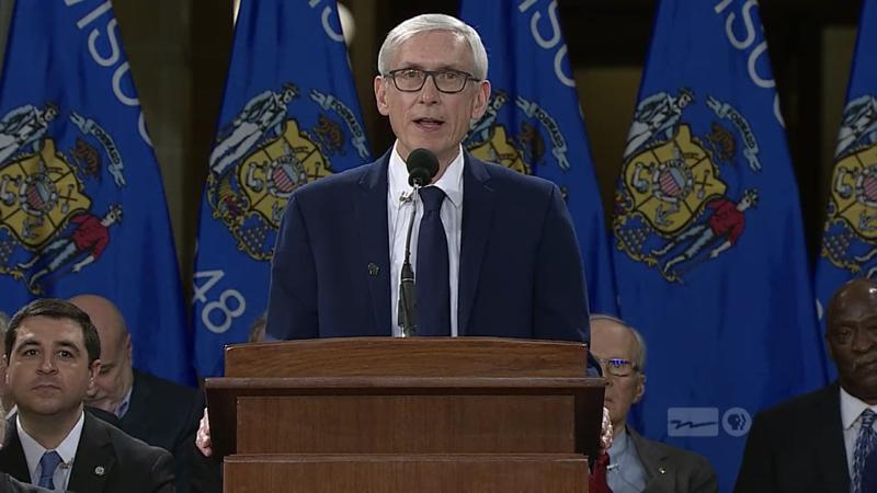 Tony Evers at the 2019 Wisconsin inauguration ceremony on Jan. 7.