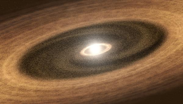 "The ""gap"" in this young star's surrounding disc of gas and dust indicates that new exo-planets are being made."