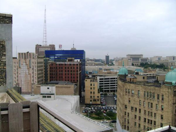 The former Hotel Wisconsin, now apartments, and the Milwaukee County Courthouse are visible from the rooftop patio of the former Nelson Bros. Furniture store. The building has been converted to condominiums.
