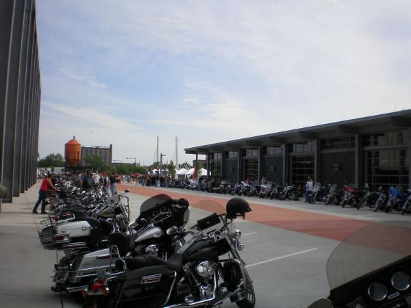 Motorcycles line up outside of Milwaukee's Harley-Davidson Museum.