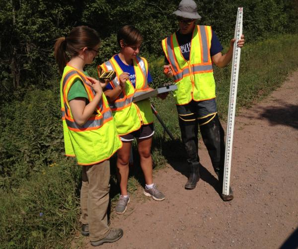 Northland College stream monitoring team - from left - Elizabeth Alexson, Kim Oldenborg and coordinator Matt Hudson