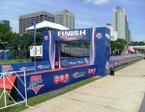 Part of Milwaukee's downtown skyline frames the finish line awaiting racers in this weekend's USA Triathlon Age Group National Championships.