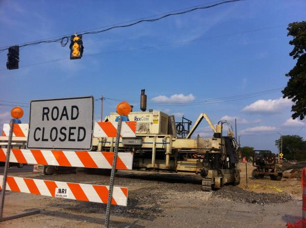 Construction on Watertown Plank Road in Wauwatosa.