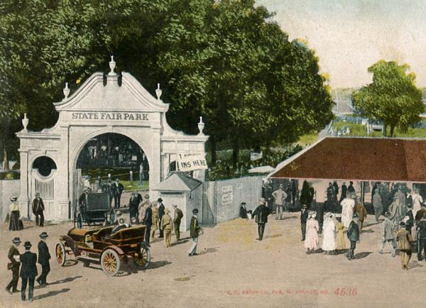 An antique postcard captures an early image of fairgoers.