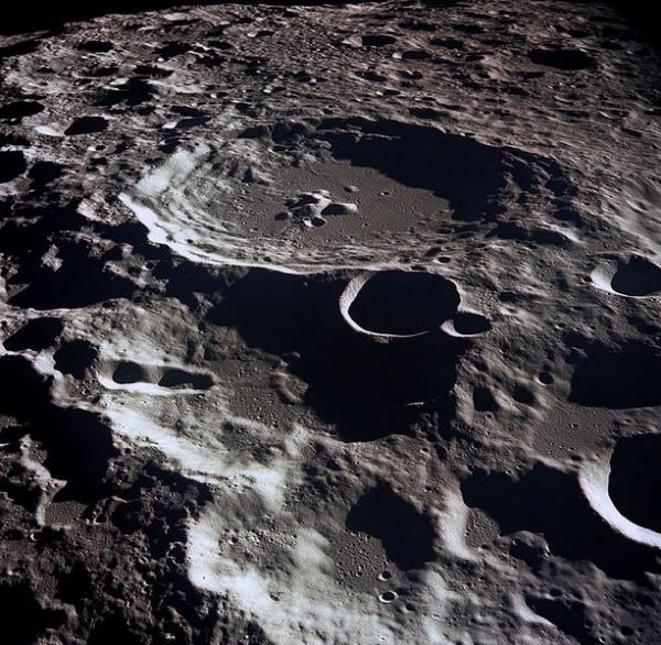 The crater Daedelus is on the far side of the Earth's moon. This image was taken by Apollo 11.