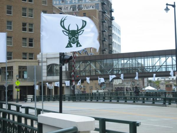 The city gave the Bucks permission to fly flags all week, as the NBA season begins.