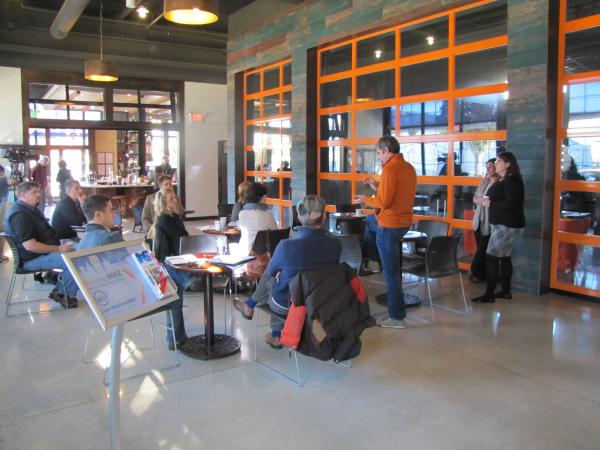Stone Creek owner Eric Resch shared his take on operating sustainably Monday morning at new cafe in Walker's Point