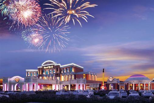 A rendering of the Menominee Tribe's proposed casino in Kenosha, in partnership with Hard Rock International.