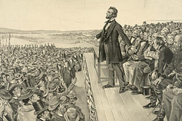 "A depiction of President Abraham Lincoln delivering the ""Gettysburg Address."""