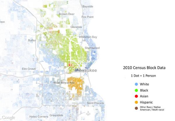 A Racial Dot Map shows clear a delineation between racial groups in the Milwaukee area.