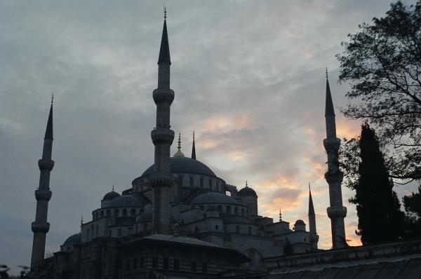 The Blue Mosque at dusk in Istanbul