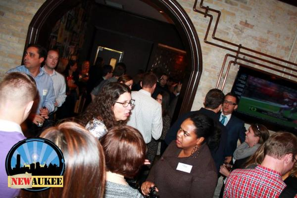 Young professionals gather at a Newaukee and FUEL Milwaukee event at Millioke Restaurant.