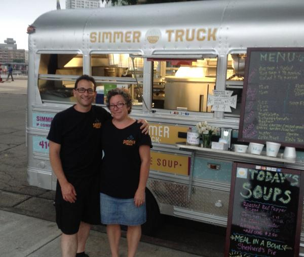 Steve Perlstein and Jennifer Block in front of The Simmer Truck, excited to serve Milwaukeeans through the winter.