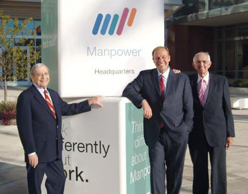 The late Mitchell Fromstein (left) was a former CEO of Manpower, who led the business through upheaval. Also pictured: current ManpowerGroup CEO Jeff Joerres and co-founder Elmer Winter