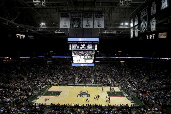 The Bucks playing at the BMO Harris Bradley Center.