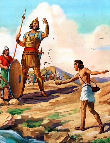 The story of David and Goliath gets a closer look in Malcolm Gladwell's book. The illustration is by Robert Temple Ayres.