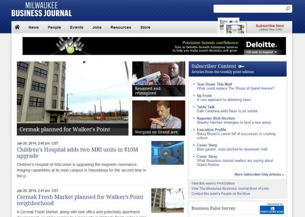 The new online design of the Milwaukee Business Journal