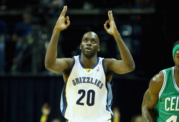 Quincy Pondexter of the Memphis Grizzlies celebrates after making a three point shot during the NBA game against the Boston Celtics on November 4, 2013.