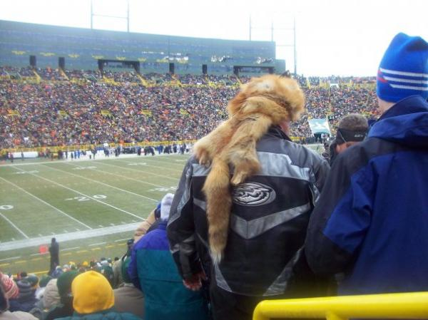 Packer fans cheer on the team in cold winter weather