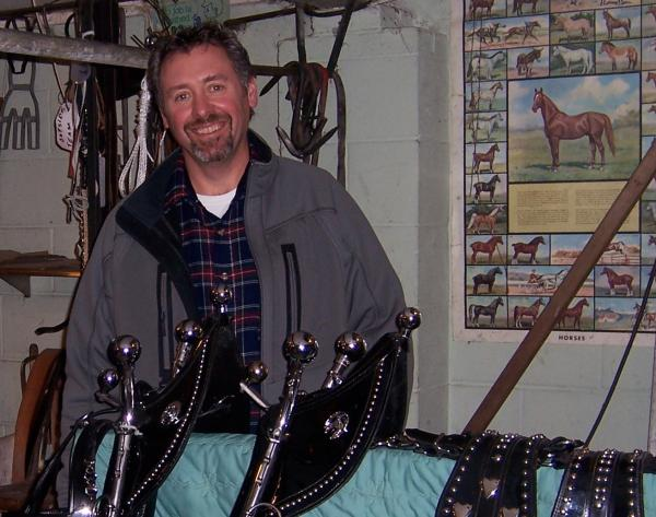 Tom Duffy of McFarland picks up his new harnesses for the work horses he bought after receiving a life-changing diagnosis.