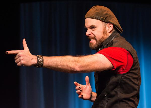 """Actor Matt Daniels in In Tandem Theatre's production of Lee Blessing's one-man show """"Chesapeake"""""""