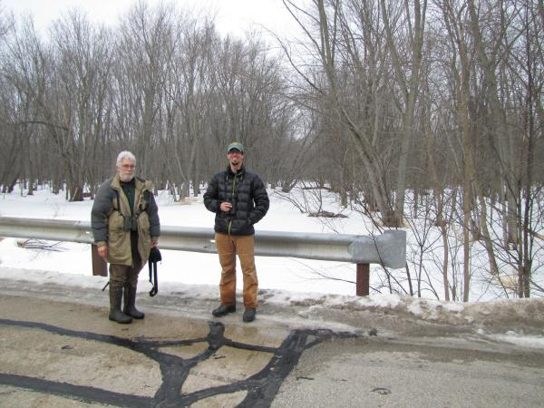 Director Bill Mueller and Tim Demers anticipate high migratory activity in this wetland-rich area.