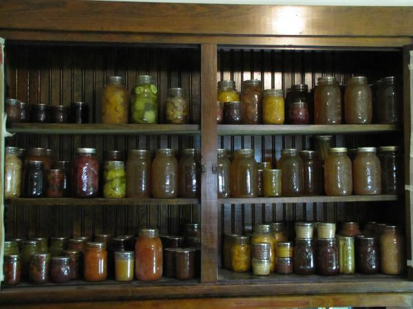 The Baird's pantry bulges with canned fruits and vegetables.