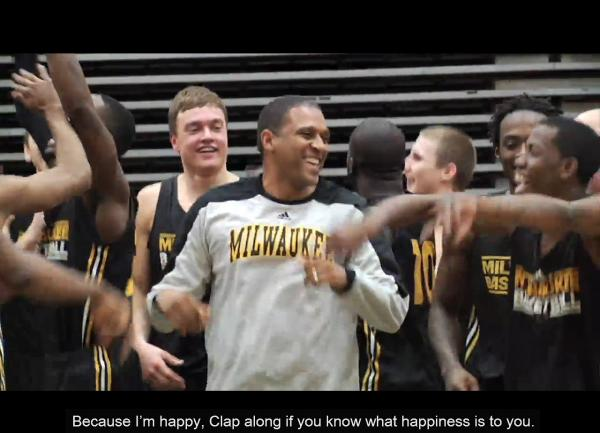 UWM's men's basketball team dances along to Pharrell William's 'Happy' song before heading to New York to play in the NCAA Tournament.