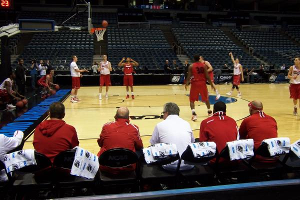 The Wisconsin Badgers practiced Wednesday at the Bradley Center