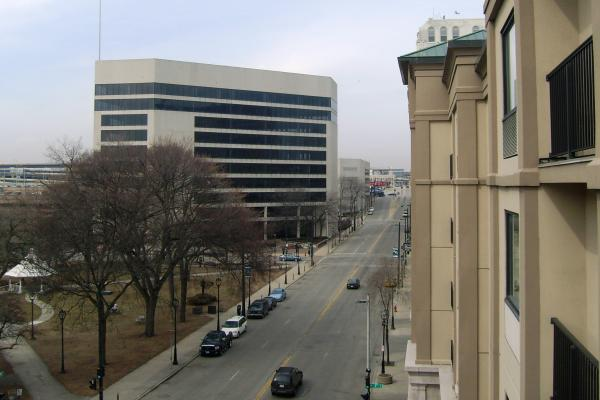 A developer may bring new housing to the former Blue Cross/Blue Shiled building (background left).