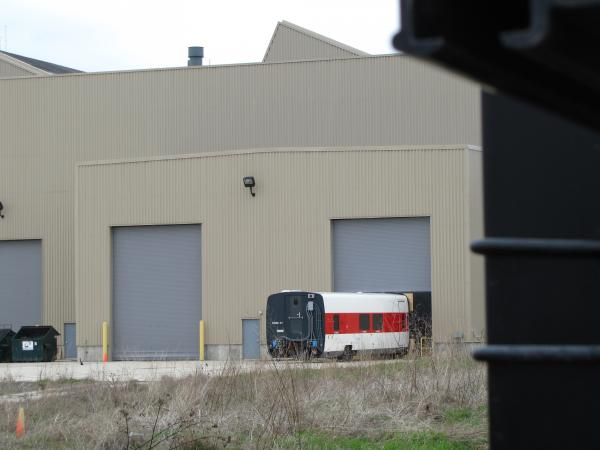One lonely train car stands outside the soon-to-be vacated Talgo plant in Milwaukee.