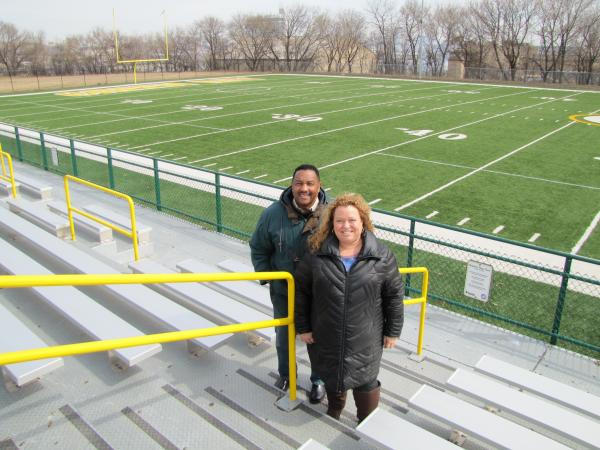 Charles Brown and Dr. Michele Bria at Journey House football field