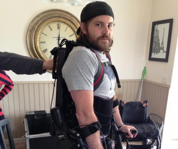 "Dan Rose's $130,000 exo-skeleton suit was a donation from a non-profit called ""Soldier Socks."""