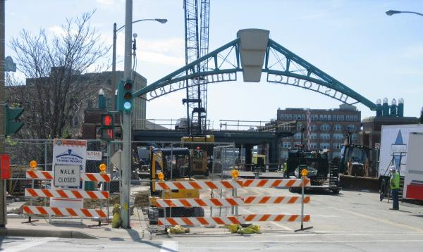 Bridge work alongside 794 in downtown Milwaukee