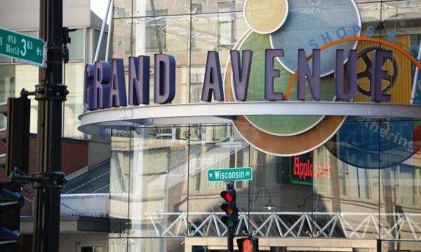 The Shops of Grand Avenue mall was listed for auction this week.