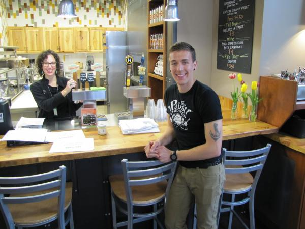 Jessy Servi & Zack Hepner in Mequon store cafe where kombucha is on tap.