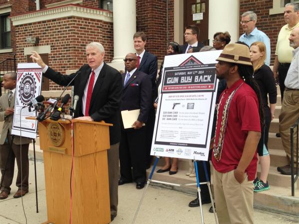 """Milwaukee Mayor Tom Barrett (at podium) and other leaders kick off """"Ceasefire Week,"""" an effort to get illegal guns off the streets."""