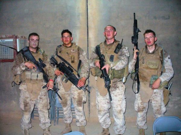 From left to right, LCpl Dale Maupin, LCpl Nate Dickrell, Cpl Rick Braun, LCpl James Hughes. The Marines were members of Milwaukee-based Fox Company. Photo was taken in 2008.