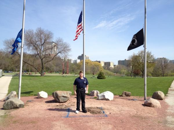 War veteran Gregory West stands on spot where General Douglas MacArthur's statue will soon be placed.