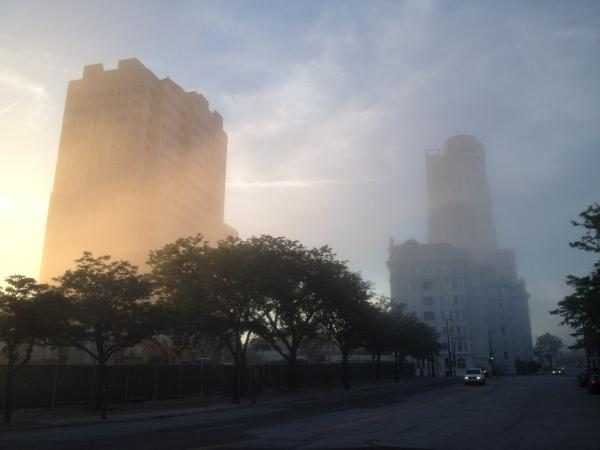 Fog covered Northwestern Mutual building and Cudahy Tower in downtown Milwaukee.