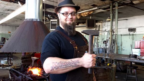 Milwaukee Blacksmith Kent Knapp in his forge.