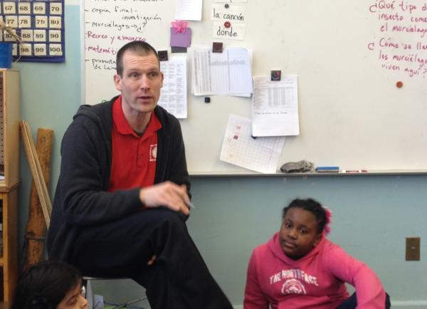 Dan Graves, in March, blending English and Spanish in his second grade classroom.
