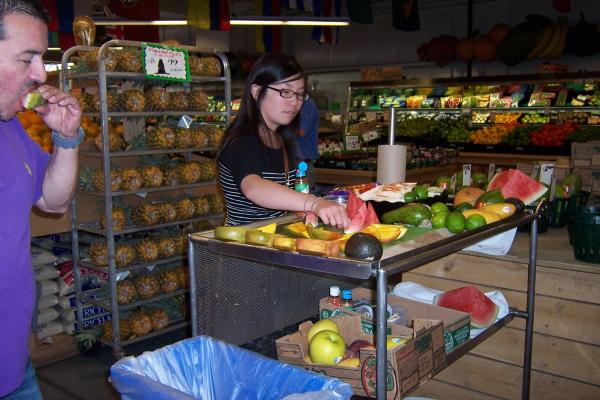 Shoppers sample the goods at Pete's Fruit Market in the heart of Milwaukee's Latino community.