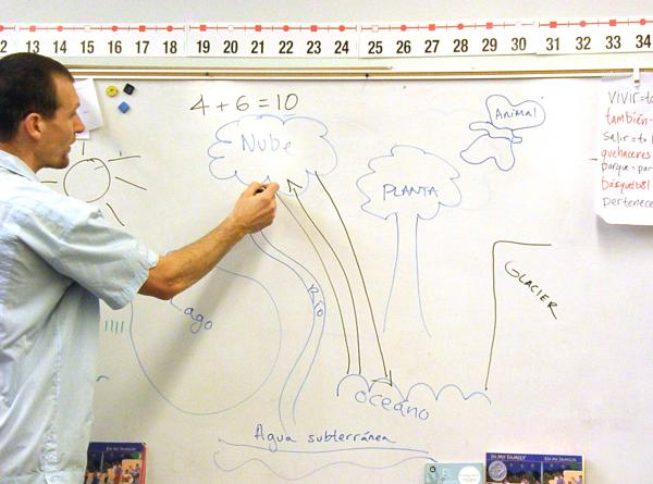 Graves drawing the water cycle two months into the school year.