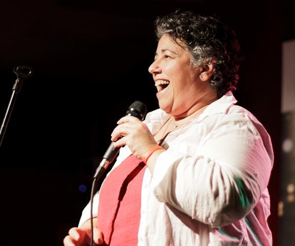 Marge Eiseman at Ex Fabula's January 2012 StorySlam.