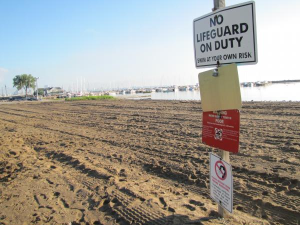 Water quality status is posted at each beach.  On this day, at South Shore patrons were advised not to enter the water.